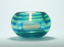 Teelicht, aquablau-neugrün