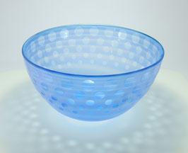 Schale, aquamarinblau, gesandstrahlt, mit Punktmuster