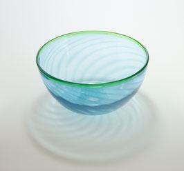 Schale mit Streifenmuster, aquablau