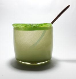 Dose, pistaziengrün, mit Olivenholzlöffel