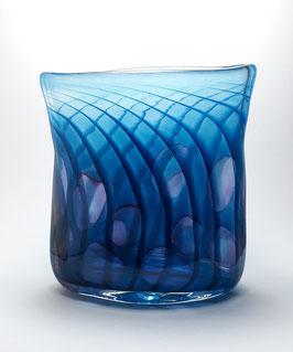 Vase, oval, blau, mit Punkten in goldrubin