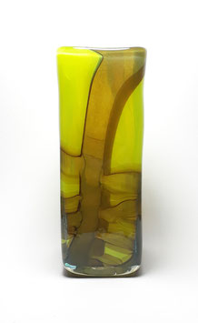 Vase, viereckig, gelbgrün