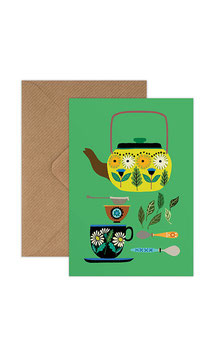 Retro TeapotGreeting Card by Brie Harrison