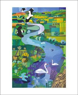 Klappkarte mit Umschlag von ArtAngels: Swans on the River