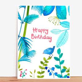 Postkarte von Frau Ottilie Happy Birthday Dschungel