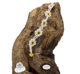 Bracelet au crochet Adronie coton Oeko-TEx blanc,  perles jaunes