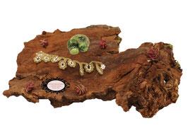 Bracelet Valicia Serpentine, le vert olive mêlé aux Rocailles de Bohème pour ce bracelet crocheté à la main
