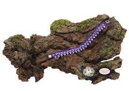 Bracelet au crochet Aerin simple rang, coton Oeko-Tex violet et Rocailles de Bohème blanches