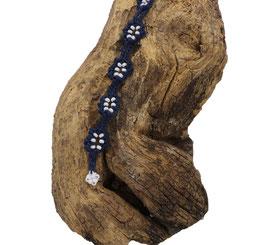Bracelet Adronie bleu marine et Rocailles de Bohème blanches