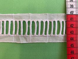 Baumwollband weiss, Streifen gestickt
