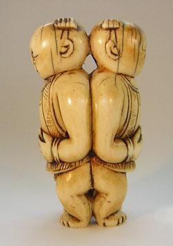 1846 China  Elfenbeinschnitzerei Toggle Zwillinge