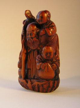 2252 Netsuke Katabori 形彫 Holz Jurojin mit 3 Karakos