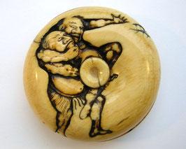 1681 Netsuke Manju 饅頭 zwei ringende Sumokämpfer