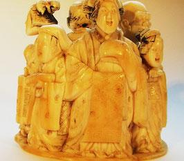 1459 Netsuke Okimono Katabori sechs Stadtmänner und Frauen