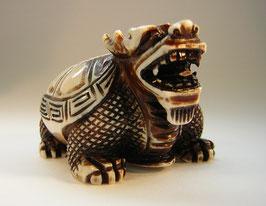 1893 China Elfenbeinschnitzerei Toggle Schildkröte mit Drachenkopf