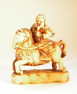 1925 Netsuke Katabori Hirschhorn 形彫 Kwanju zu Pferd