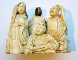 1460 Netsuke Katabori 形彫 die sechs berühmten Poeten