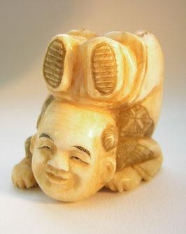 1864 Netsuke Katabori 形彫 Akrobat