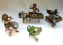 1966 Wiener Bronze Lot 4 Stck. Tiere mit menschlichen Tätigkeiten / Habitus