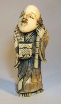 1130 Netsuke Katabori 形彫 Urashima Tarô mit Angel und einer Köderbox