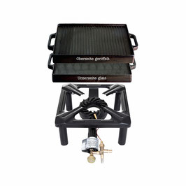 Hockerkocher Set mit Gusseisenplatte