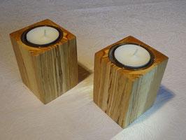 2er Set Teelichthalter aus Hainbuche