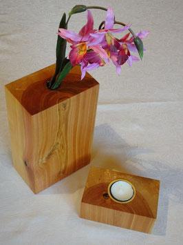Birkenduo - Vase und Teelicht