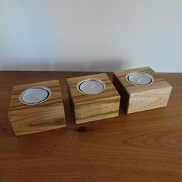 3-er Set Teelichthalter aus Ulme