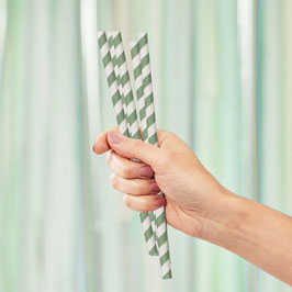 Paper Straw - Papierstrohhalme green Stripe Ginger Ray