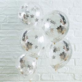 Silver Star Konfetti Ballon Ginger Ray