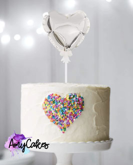 Ballon Caketopper Herz Silber