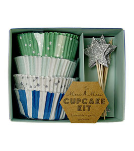 Cupcake Kit green Star Meri Meri Muffin Förmchen