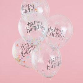 Konfetti Happy Birthday Ballon Ginger Ray