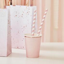 Papierstrohhalme  rosa gestreift Ginger Ray