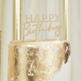 "Gold Acryl Caketopper  ,,Happy Birthday"" Ginger Ray"