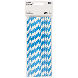 Paper Straw - Papierstrohhalme blue Stripe