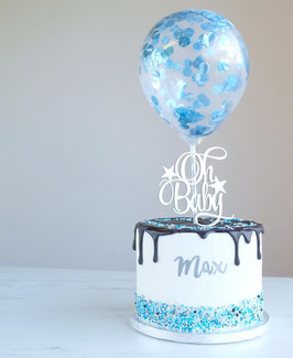 Blue Metallic Caketopper Konfetti Ballon by AmyCakes