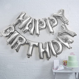 Silver Happy Birthday Ballon Ginger Ray