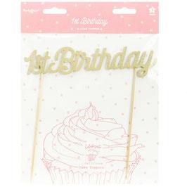 1st Birthday Cake Topper gold