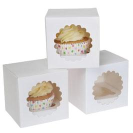 Cupcake Boxen klein weiß 3 Stück