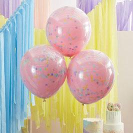 Ballon Opak Pink mit Konfetti