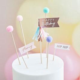 Caketopper Pom Pom Happy Birthday GingerRay
