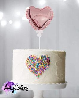 Ballon Caketopper Herz Rose