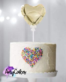 Ballon Caketopper Herz Gold