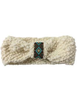 Stirnband mit Perlenapplikation - wollweiß
