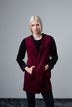 sleeeveless cord vest red