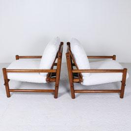 Paire de fauteuils en mélèze, 1960
