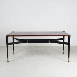 Table basse en palissandre, métal et laiton, 1960
