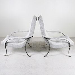 Paire de fauteuils en acier brossé, 1970