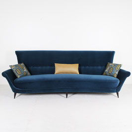 Canapé en velours bleu, 1950